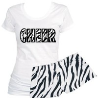 2 Piece Set: White Scoop Neck Shirt Zebra Cheer with Zebra Short Shorts (Small, White/Black)