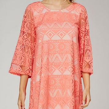 Mon Ami Netted Tribal Lace Tunic Top- Coral/White