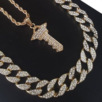 """New 14k Gold PT God Bless Master Key 15mm Iced Out Miami Cuban 30"""" Necklace S182"""