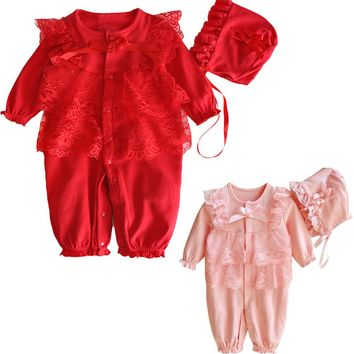 Newborn Infant Baby clothes Kids Girls romper Cap Hat+Lace Romper Jumpsuit Clothing Set Outfit ping