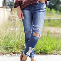 High Rise Skinny Jeans, Dark Blue
