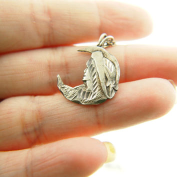 Moon Lady Pendant - Sterling Silver - Vintage
