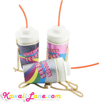 Unicorn Tears Drinking Bottle Bag - Kawaii Bag With Long Chain