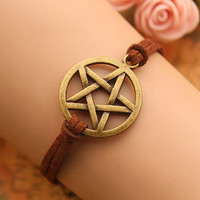 Supernatural Inspired bracelet,retro bronze pentagram pendant,brown rope bracelet---B302