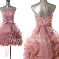 Orange Pink Ruffled Strapless Bowknot Waistband Empired Short Cocktail Dress Organza Formal Evening Party Events Prom Dress Homecoming Dress