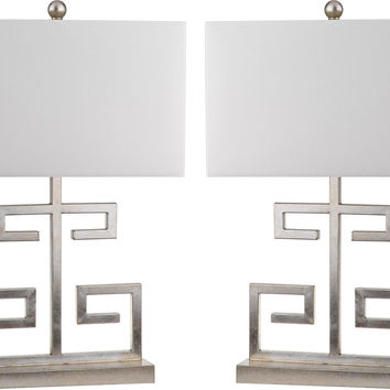 Greek Key Table Lamp Set, Silver, Table Lamps