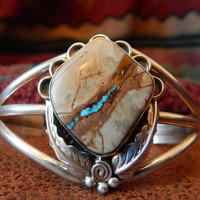 Boulder turquoise Colorado  ribbon turquoise sterling silver  cuff bracelet Native American jewelry southwest jewelry
