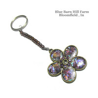 Large Purple Iridescent Flower on a Keychain - Hand crafted item 20150004