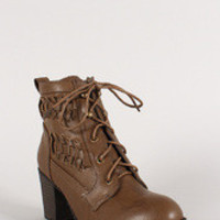 Bamboo Woven Lace Up Bootie