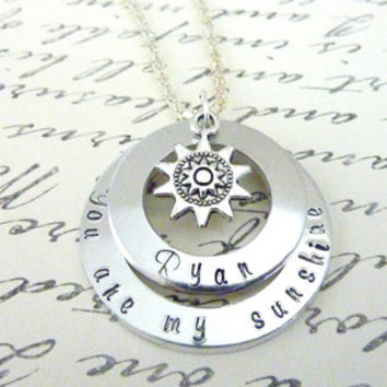 Personalized You are my sunshine Necklace Mommy Necklace Mother Grandma Hand Stamped jewelry