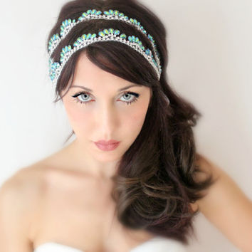 Bridal Headband Blue Green Peacock Rhinestone Silver by deLoop