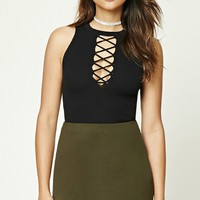 Plunging Lace-Up Crop Top
