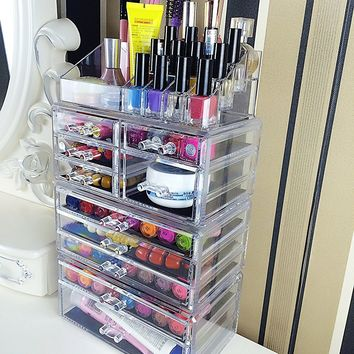 Acrylic 10 Drawer Ultra Makeup Organizer Storage Unit