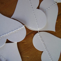 PURE WHITE Paper Heart Garland, Weddings, Receptions, Bridal or Baby Showers, Birthday Party, All Occasion