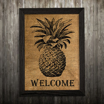Pineapple poster Kitchen print Burlap print Food decor BLP803