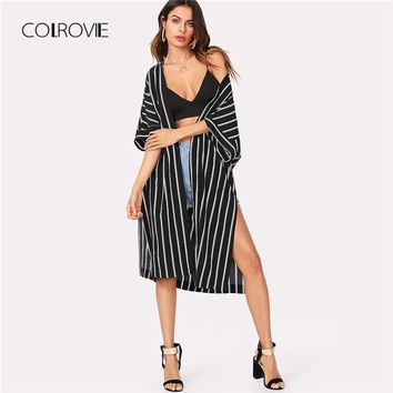 COLROVIE Vertical Striped Longline Kimono 2018 New Arrival Summer 3/4 Sleeve Split Casual Kimono Black And White Women Clothing