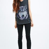 Truly Madly Deeply Mystery Wolf Tank in Grey - Urban Outfitters