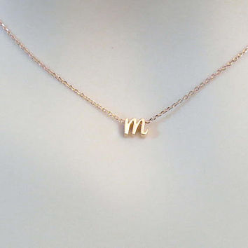 Personal, Letter, Initial, Cursive letter, Lower case, Rose gold, Necklace, Lovers, Best friends, Mom, Sister, Gift