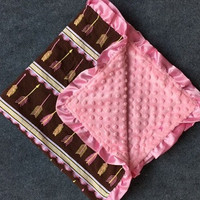 In Stock- pink and Brown Arrow Minky blanket