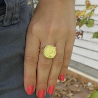 Gold Coin Ring - 14k Yellow Gold Over Brass Queen Elizabeth Ring