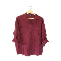 Vintage 90s silk shirt. Maroon red blouse. Minimalist top. Slouchy silk button up shirt. Loose fit minimal top. Womens Mens silk blouse. M