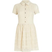 Cream lace shirt dress