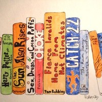CUSTOMIZED Painting of Your FAVORITE BOOKS Matted 11x14