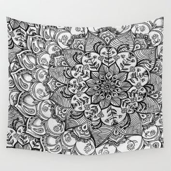 Shades of Grey - mono floral doodle Wall Tapestry by Micklyn