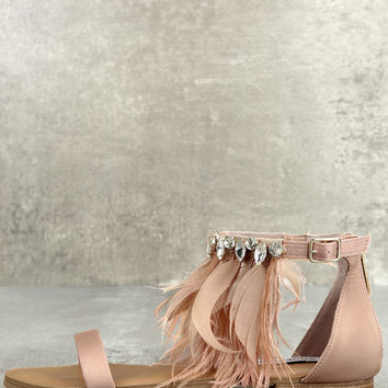 Steve Madden Adore Blush Feather and Rhinestone Sandals