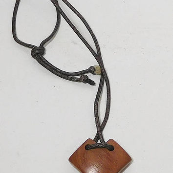 Large Wood Pendant, Rope Necklace, Heart Pendant, Modernistic Art Jewelry, Abstract Mid Century Modern Costume Jewelry, Chunky Statement,