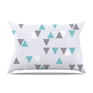 "Nick Atkinson ""Triangle Love II"" Gray Teal Pillow Case"