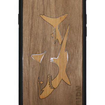 Slim Wooden Phone Case | Great White Shark in Bamboo / Walnut