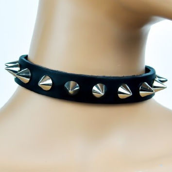 "Cone Spike Black Real Leather Choker 3/4"" Wide"