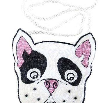 Katherine's Collection Sequin and Beaded French Bulldog Purse