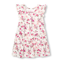 Toddler Girls Short Ruffle Sleeve Printed Tiered Knit Dress | The Children's Place