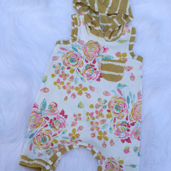 Baby Girl Summer Romper / 3-6 / READY TO SHIP / Baby Girl Summer Outfit / One Piece / Hooded Romper / Cloth Diaper / Baby Girl Floral Romper