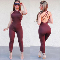 Plain Color Sexy Tight Jumpsuits with Cross Back