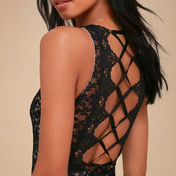 Before Sunrise Black and Nude Lace Bodysuit