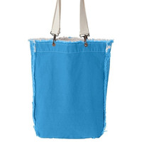 100% Genuine Pigment Ragged Edge Tote-Available in 3 Colors-Blue