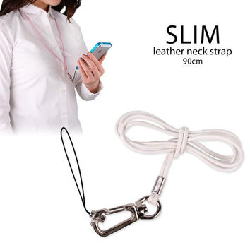 Genuine Leather Neck Cell Phone Strap (White)