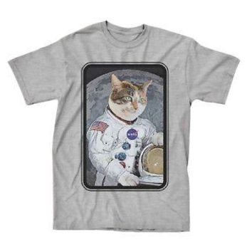 NASA Astronaut Cat In Space Officially Licensed Adult T-Shirt - Gray - 3XL