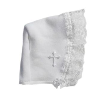 Baby Girls' White Bonnet with Lace and White Cross