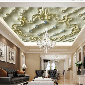 Custom 3D Mural Wallpaper European Ceiling Frescoes 3D Stereoscopic Wallpaper Customize Size