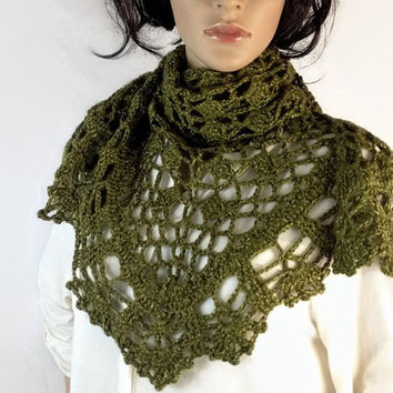 Outlander Claire Shawl Wrap Green Scottish Leaves Crocheted Fraser Diana Gabaldon Crocheted FREE SHIPPING