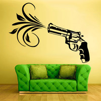 Wall Vinyl Sticker Decals Decor Art Bedroom Design Mural Flowers Modern Design Revolver Gun (z558)