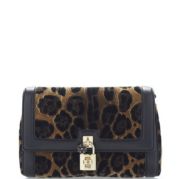 Animal Printed Velvet Shoulder Bag