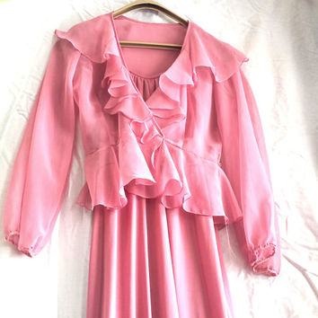 Pink Maxi - Vintage Designer Gown, 1981 Ann Pakradoon,dusty rose pink, prom, evening gown