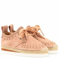 Suede lace-up espadrilles