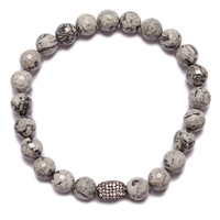 """""""Snow"""" White & Gray Bead Bracelet with Pave Detail (SOLD OUT)"""
