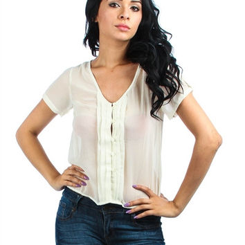 IVORY BUTTON UP RUFFLE FRONT CHIFFON TOP
